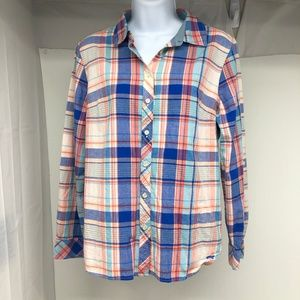 Talbot's Size 12P Plaid Button Down Shirt - A1160